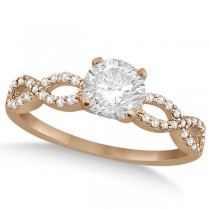 Twisted Infinity Round Diamond Engagement Ring 18k Rose Gold (1.00ct)
