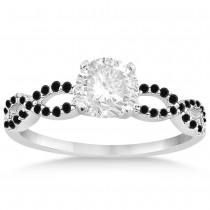 Twisted Infinity Black Diamond Engagement Ring 14k White Gold (0.21ct)