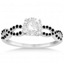 Twisted Infinity Black Diamond Engagement Ring 14k White Gold (0.21ct)