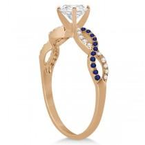 Infinity Round Diamond Blue Sapphire Engagement Ring 14k Rose Gold (0.75ct)