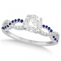 Infinity Round Diamond Blue Sapphire Engagement Ring 14k White Gold (0.75ct)