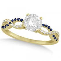 Infinity Round Diamond Blue Sapphire Engagement Ring 14k Yellow Gold (0.75ct)