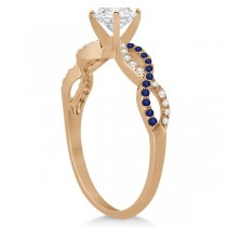 Infinity Round Diamond Blue Sapphire Engagement Ring 14k Rose Gold (2.00ct)