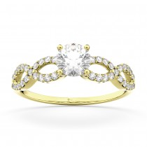 Twisted Infinity Lab Grown Diamond Engagement Ring Setting 14K Yellow Gold (0.21ct)