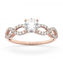 Twisted Infinity Lab Grown Diamond Engagement Ring Setting 18K Rose Gold (0.21ct)