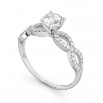 Twisted Infinity Lab Grown Diamond Engagement Ring Setting 18K White Gold (0.21ct)
