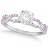 Infinity Round Diamond Pink Sapphire Engagement Ring 14k White Gold (0.50ct)