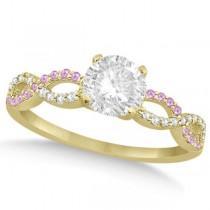 Infinity Round Diamond Pink Sapphire Engagement Ring 14k Yellow Gold (0.50ct)