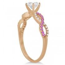 Infinity Round Diamond Pink Sapphire Engagement Ring 14k Rose Gold (0.75ct)