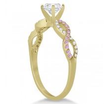 Infinity Round Diamond Pink Sapphire Engagement Ring 14k Yellow Gold (2.00ct)