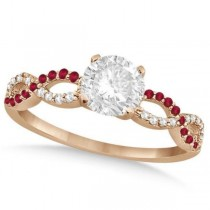 Infinity Round Diamond Ruby Engagement Ring 14k Rose Gold (0.50ct)