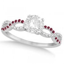 Infinity Round Diamond Ruby Engagement Ring 14k White Gold (0.50ct)