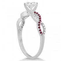Infinity Round Diamond Ruby Engagement Ring 14k White Gold (0.50ct)