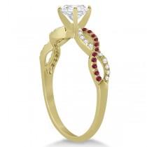 Infinity Round Diamond Ruby Engagement Ring 14k Yellow Gold (0.75ct)