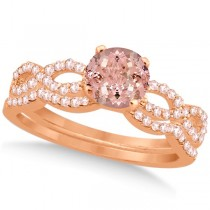 Infinity Style Morganite & Diamond Bridal Set 14k Rose Gold 1.29ct