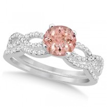 Infinity Style Morganite & Diamond Bridal Set 14k White Gold 1.29ct