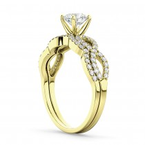 Infinity Twisted Diamond Matching Bridal Set in 14K Yellow Gold (0.34ct)