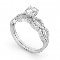 Infinity Twisted Diamond Matching Bridal Set in 18K White Gold (0.34ct)
