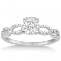 Infinity Cushion-Cut Diamond Bridal Ring Set 14k White Gold (0.88ct)