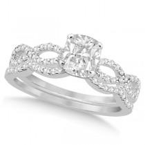 Infinity Cushion-Cut Diamond Bridal Ring Set 18k White Gold (0.88ct)