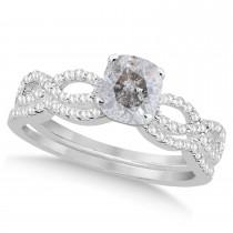 Infinity Cushion-Cut Salt & Pepper Diamond Bridal Ring Set 14k White Gold (1.13ct)