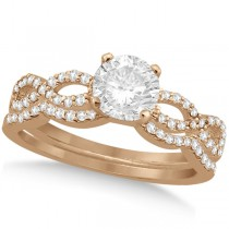 Twisted Infinity Round Diamond Bridal Ring Set 14k Rose Gold (1.13ct)