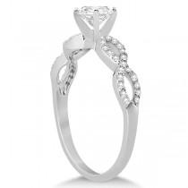 Twisted Infinity Round Diamond Bridal Ring Set 14k White Gold (1.13ct)