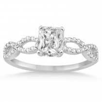 Infinity Radiant-Cut Lab Grown Diamond Bridal Ring Set 14k White Gold (1.13ct)