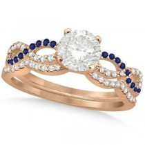 Infinity Round Diamond Blue Sapphire Bridal Set 14k Rose Gold (0.88ct)