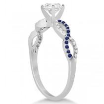 Infinity Round Diamond Blue Sapphire Bridal Set 14k White Gold (1.63ct)