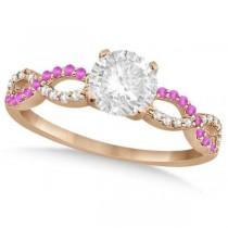 Infinity Round Diamond Pink Sapphire Bridal Set 14k Rose Gold (0.88ct)