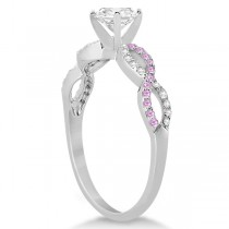 Infinity Round Diamond Pink Sapphire Bridal Set 14k White Gold (0.88ct)