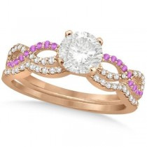 Infinity Round Diamond Pink Sapphire Bridal Set 14k Rose Gold (1.13ct)