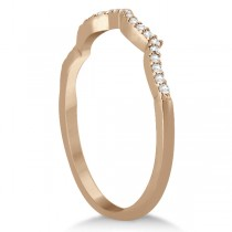 Infinity Round Diamond Pink Sapphire Bridal Set 14k Rose Gold (1.13ct)