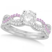 Infinity Round Diamond Pink Sapphire Bridal Set 14k White Gold (1.13ct)
