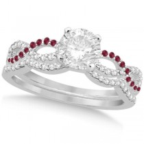 Infinity Twisted Round Diamond Ruby Bridal Set 14k White Gold (0.63ct)