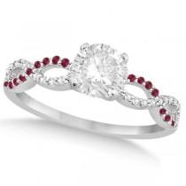 Infinity Twisted Round Diamond Ruby Bridal Set 14k White Gold (0.88ct)