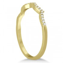 Infinity Twisted Round Diamond Ruby Bridal Set 14k Yellow Gold (1.13ct)
