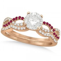 Infinity Twisted Round Diamond Ruby Bridal Set 14k Rose Gold (1.63ct)