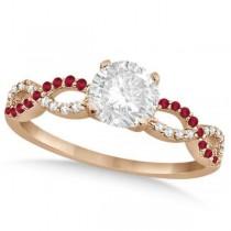 Infinity Twisted Round Diamond Ruby Bridal Set 14k Rose Gold (1.63ct)