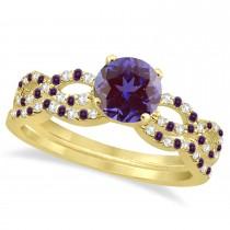 Infinity Style Alexandrite & Diamond Bridal Set 18K Yellow Gold 1.29ct