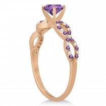 Diamond & Amethyst Infinity Style Bridal Set 14k Rose Gold 1.94ct