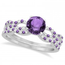 Infinity Style Amethyst & Diamond Bridal Set 14k White Gold 1.29ct