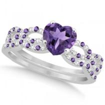 Amethyst & Diamond Heart Infinity Style Bridal Set 14k W Gold 1.74ct