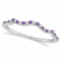 Diamond & Amethyst Contour Wedding Band 14K White Gold 0.24ct