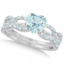 Aquamarine & Diamond Heart Infinity Style Set 14k White Gold 1.74ct