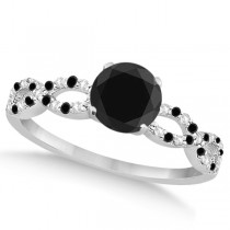 White & Black Diamond Infinity Engagement Ring 14k White Gold 1.65ct