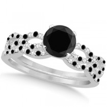 Black Diamond & Diamond Infinity Style Bridal Set 14k W. Gold 1.10ct