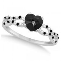 Black Diamond & Diamond Heart Infinity Bridal Set 14k W. Gold 1.45ct