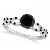White & Black Diamond Infinity Engagement Ring 18k White Gold 1.65ct